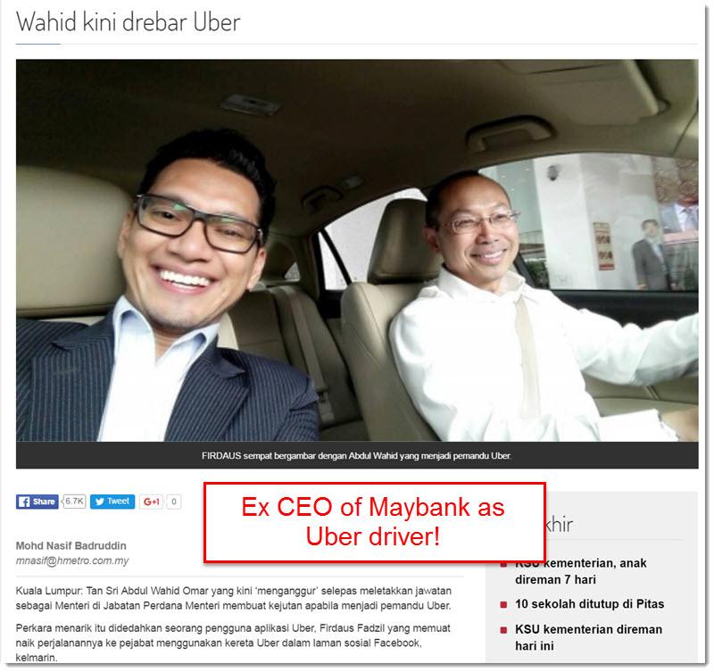 Tan Sri Wahid Omar Uber Driver