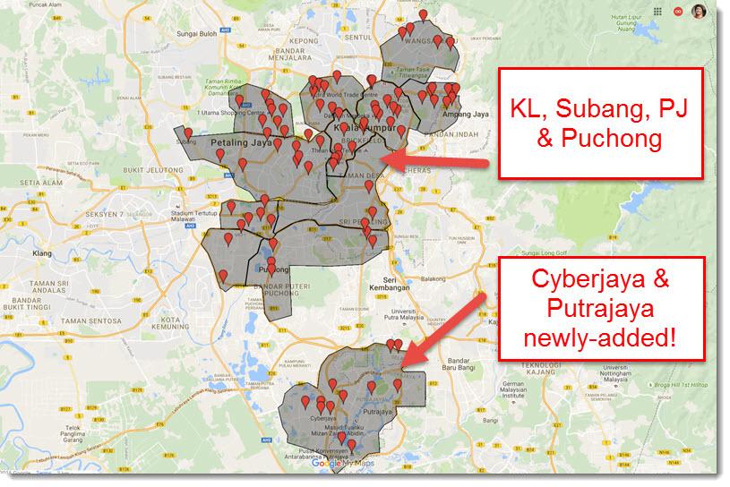Uber core service area Malaysia