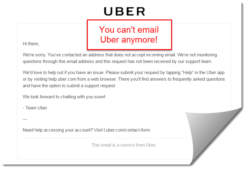Uber does not accept emails anymore