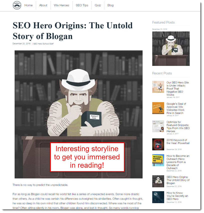 Comical blogging style by Wix