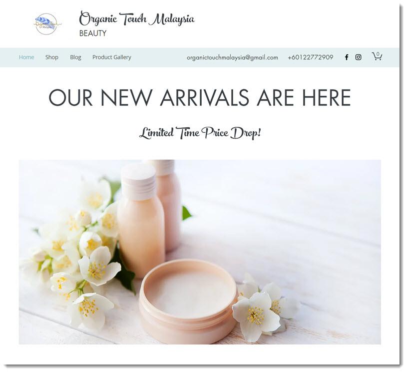 organic touch malaysia website screenshot