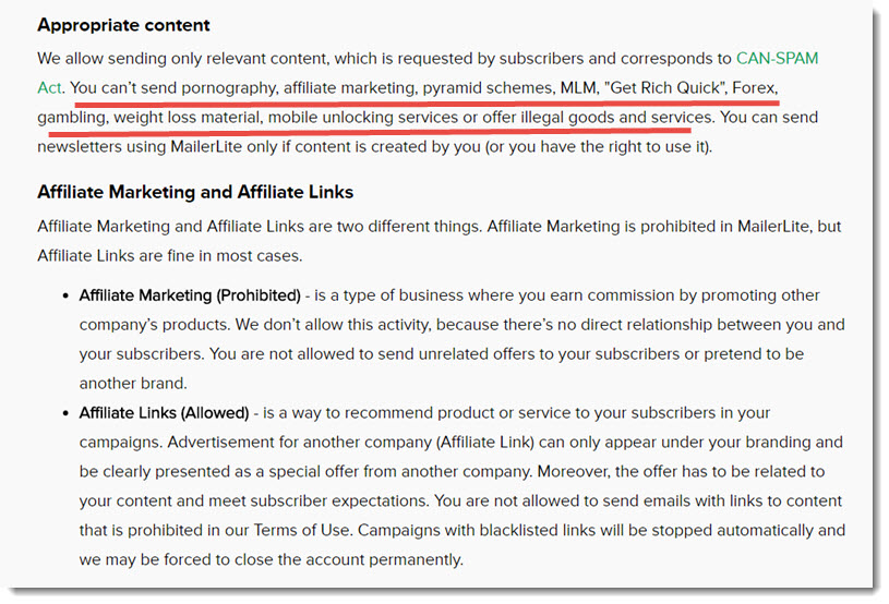 affiliate marketing is prohibited MailerLite