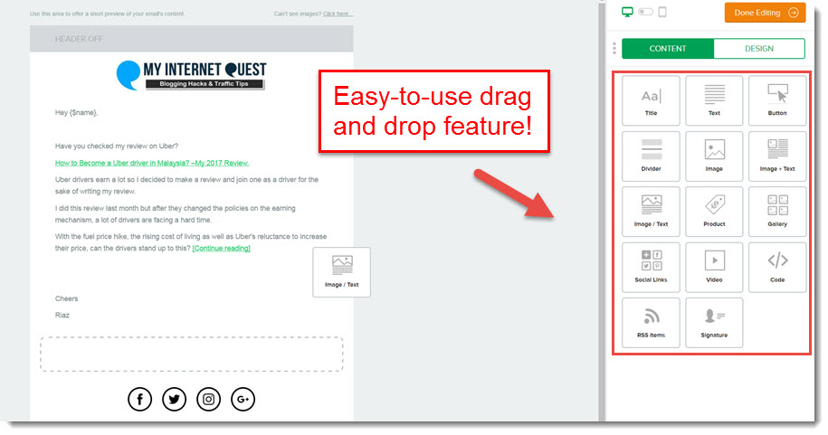 mailer lite drag and drop feature