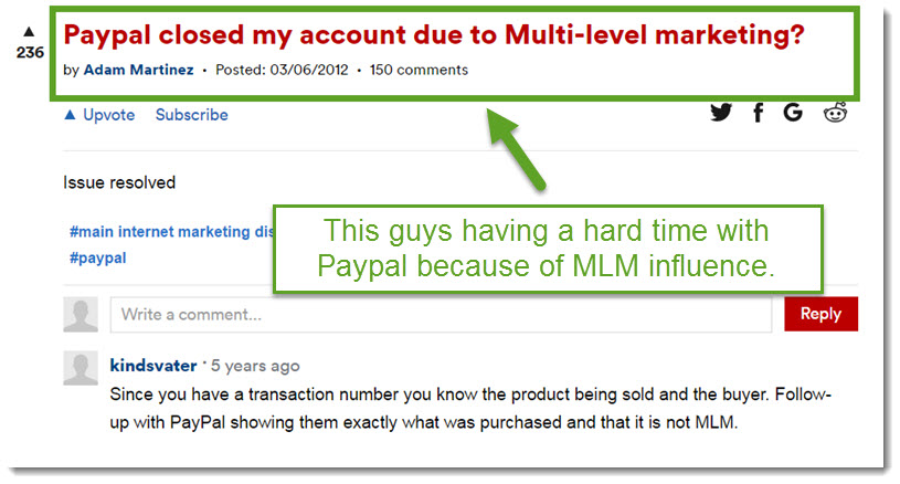 random guy got his paypal account terminated becasue of MLM