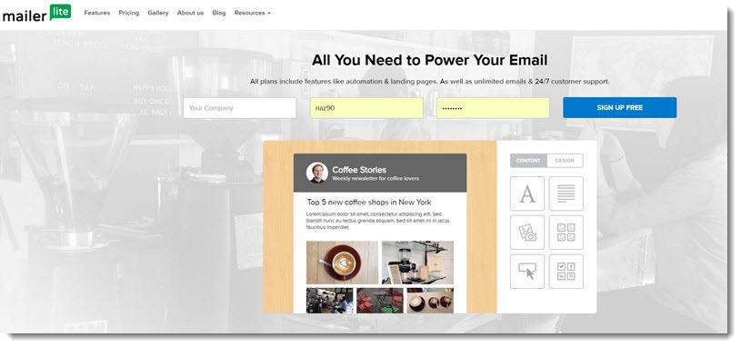 MailerLite homepage