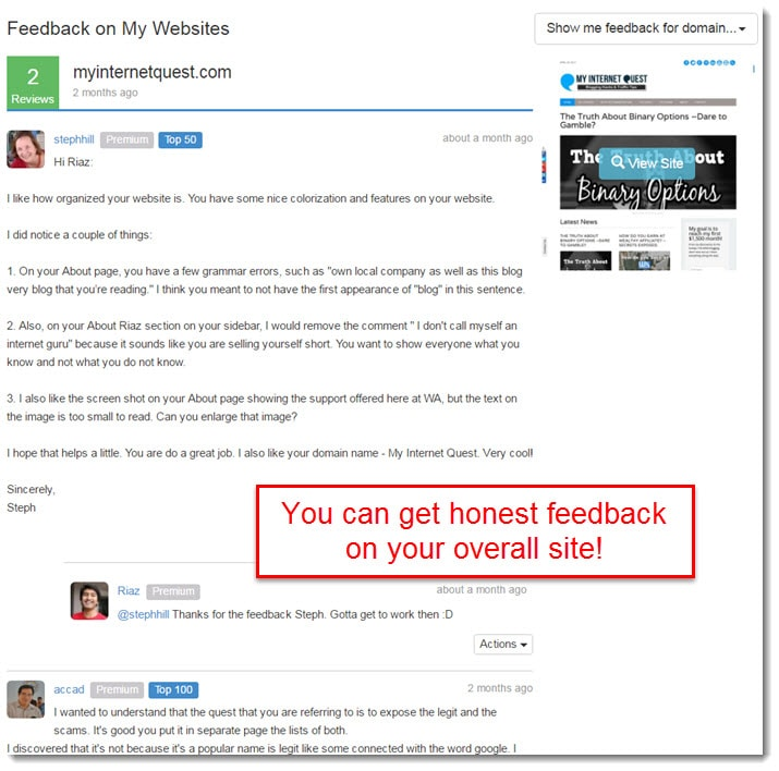 sitefeedback feature wealthy affiliate-min