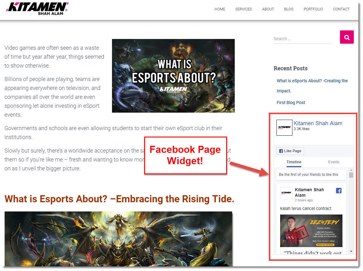 how i embed the facebook widget to your site