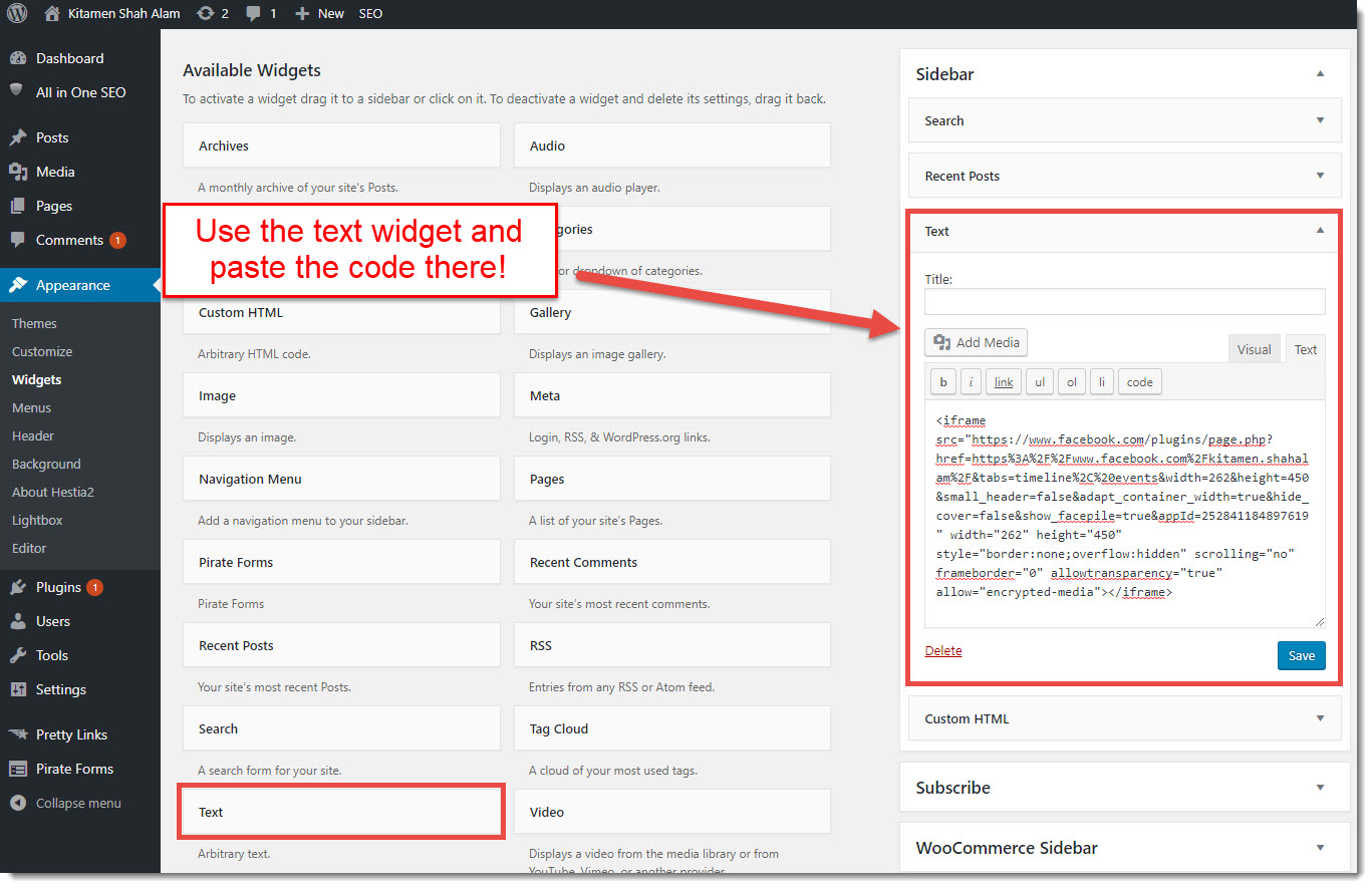 pasting the Facebook code to your WordPress site