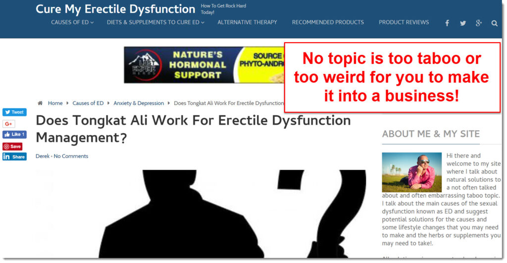 cure my erectile dysfunction homepage screenshot
