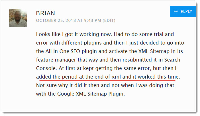 All in One SEO XML Sitempaps error fixed by brian