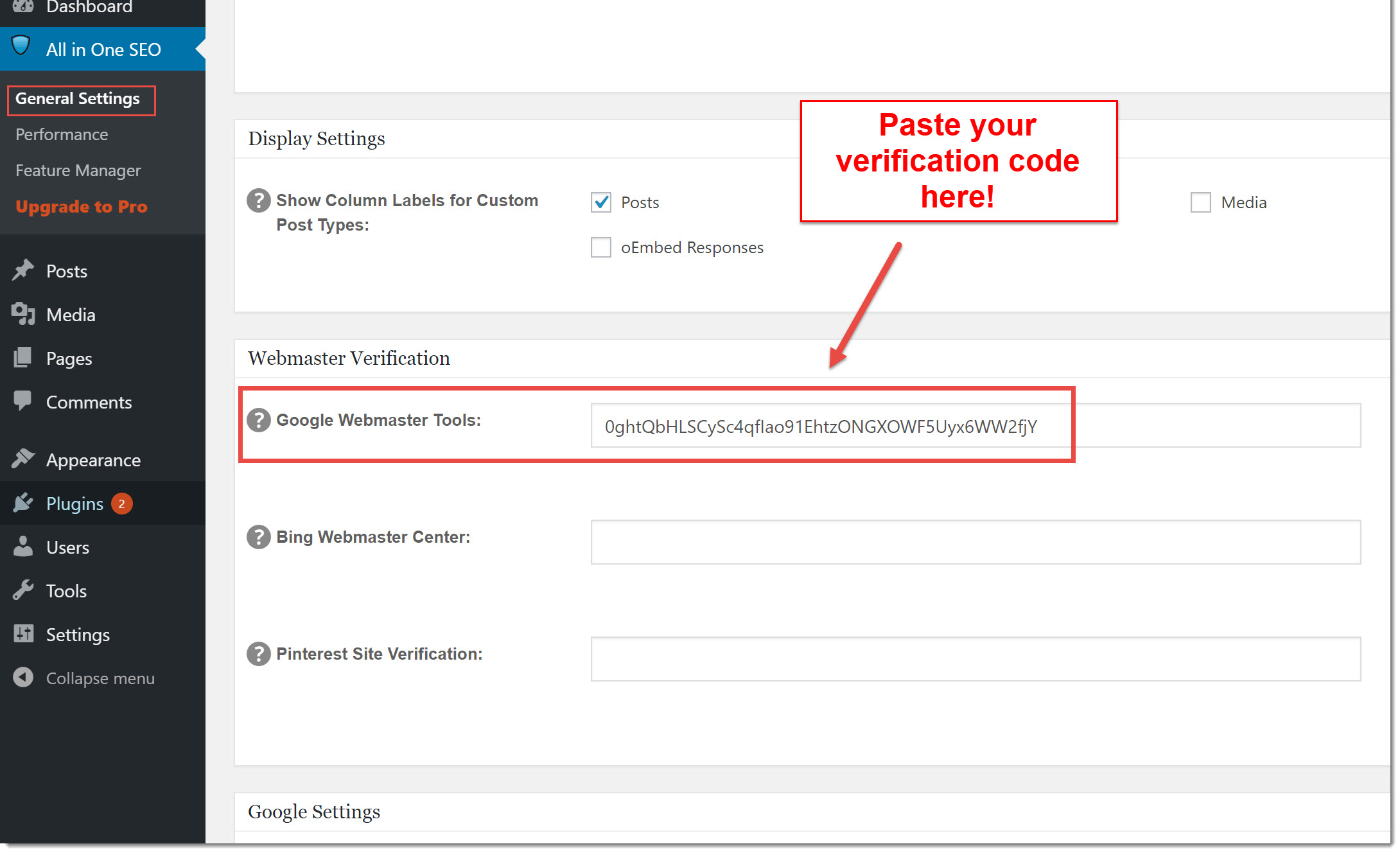 All in one seo webmaster verification