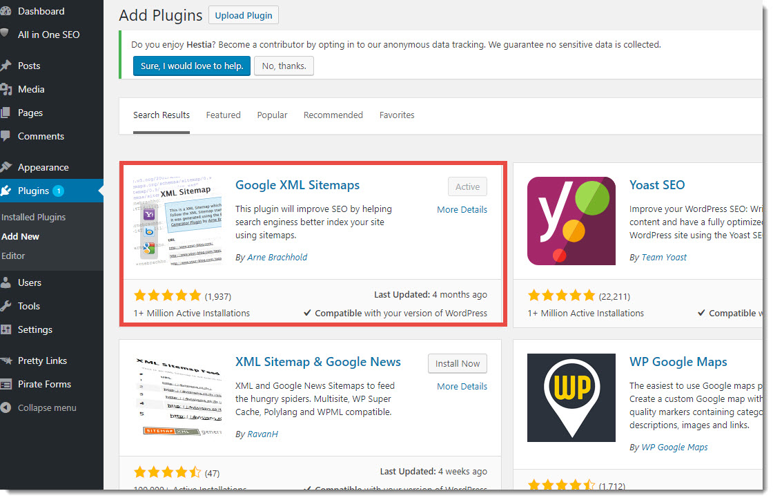 Google XML Sitemaps plugin on WordPress
