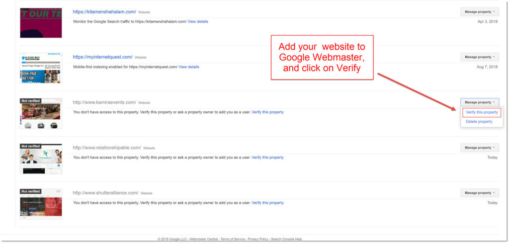 Verify your site on Google