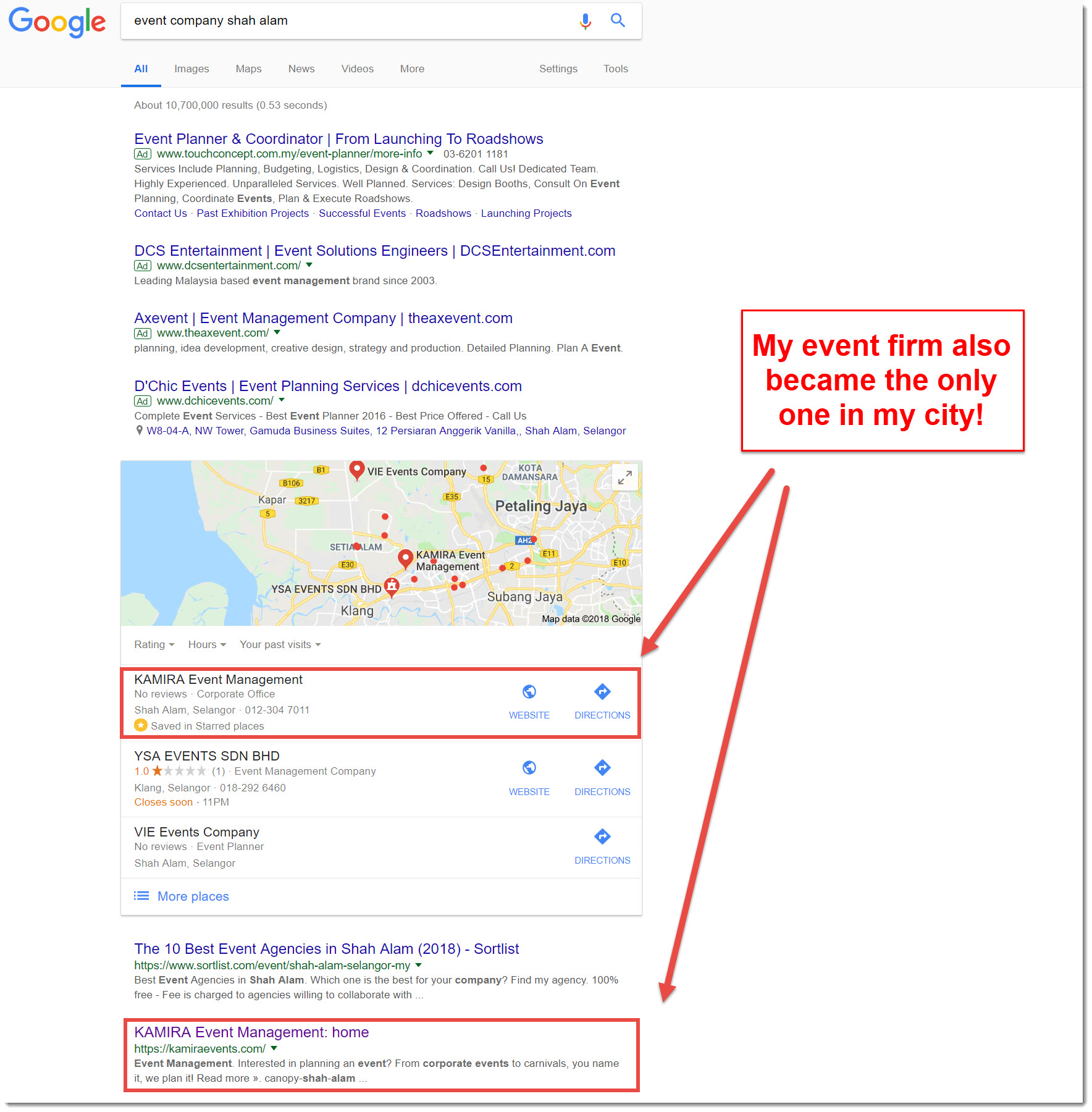 event company shah alam google search results