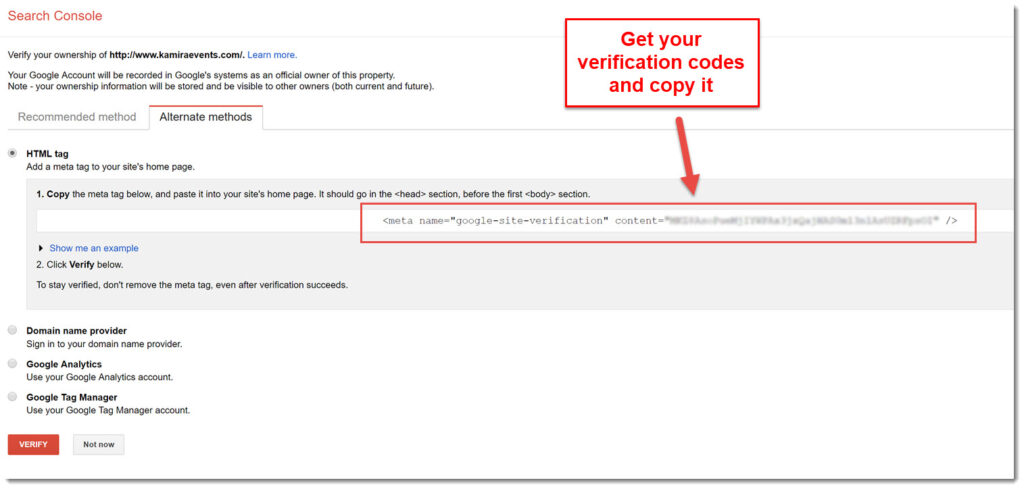 getting your verification codes from Webmaster Tools