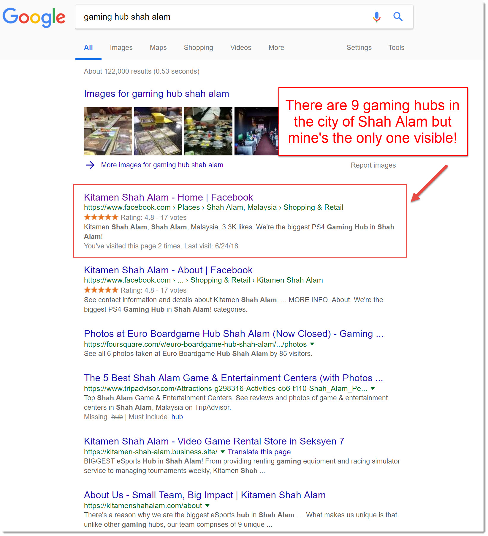 google search results for gaming hub shah alam