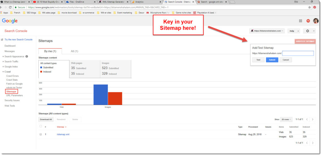 submitting sitemap to Google webmasters