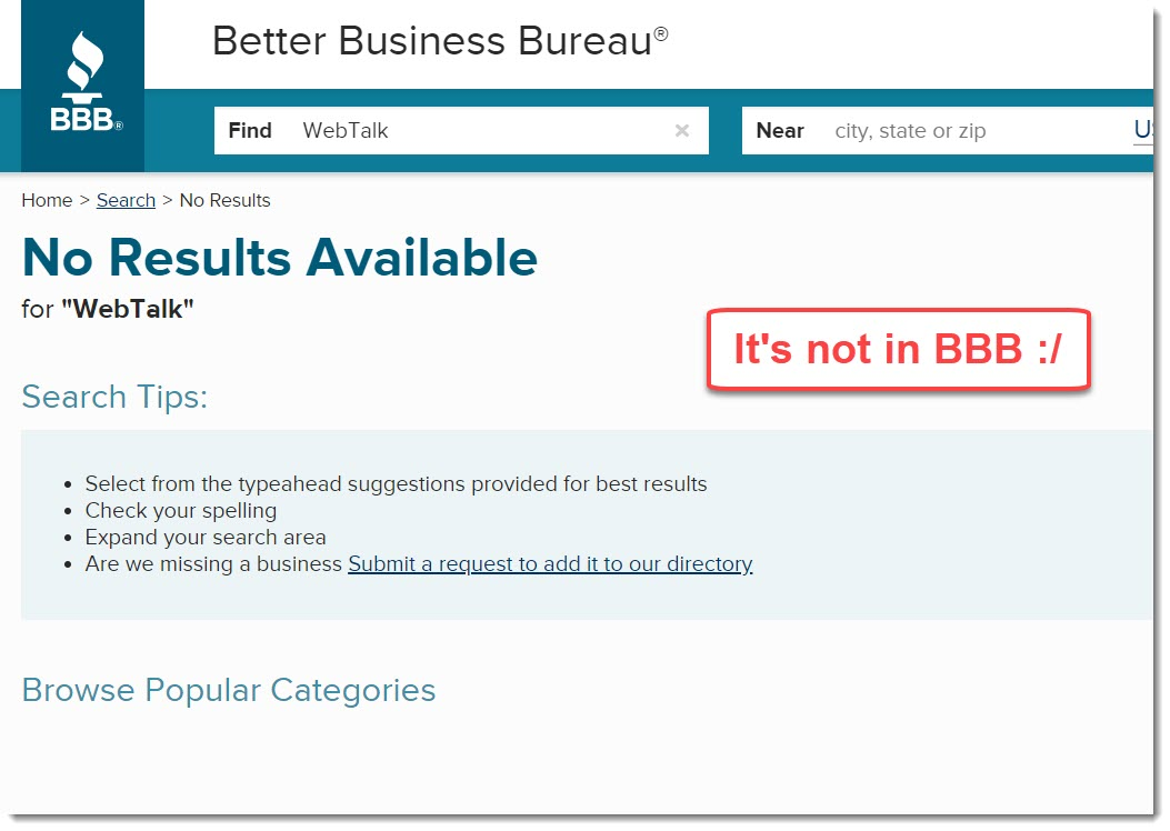 BBB result for WebTalk