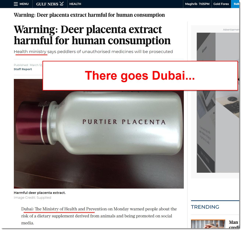 Dubai Banned Purtier Placenta