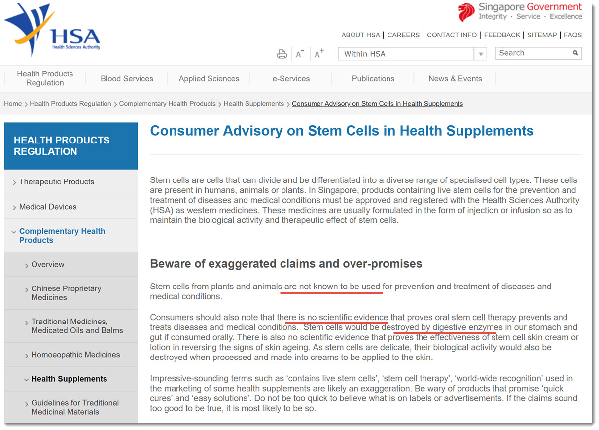 Health Science Authority Singapore on stem cells Purtier Placenta Riway