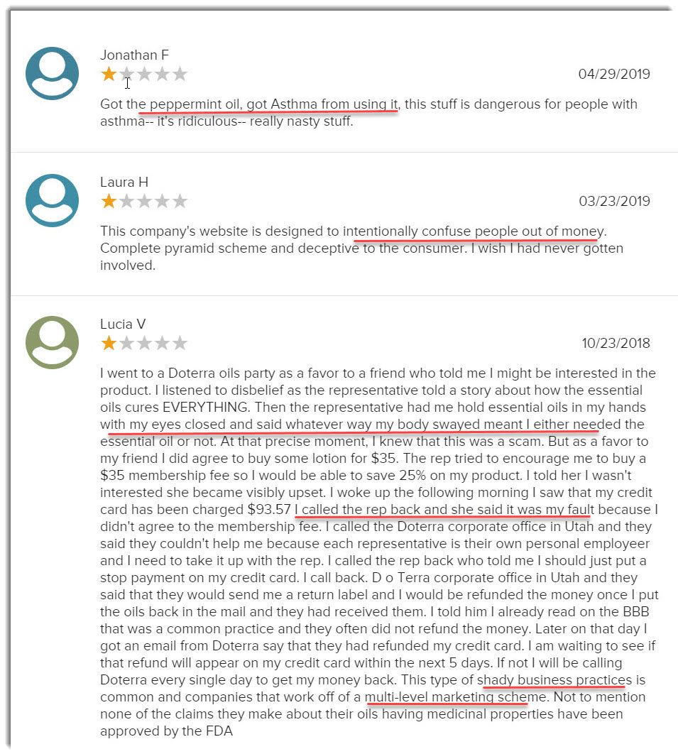 BBB complaints on doTERRA