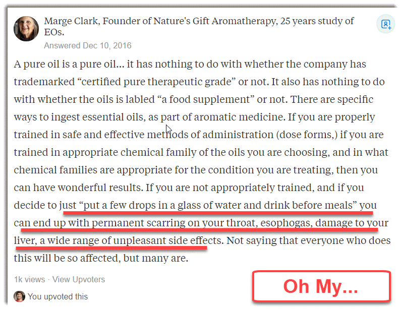 Marge Clark advising not to ingest essential oils