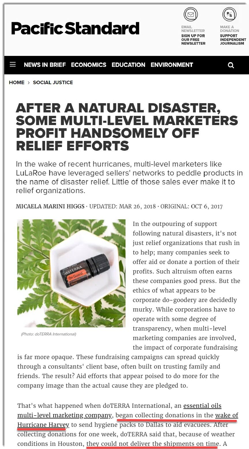 doterra stole charity money on the PAcific STandrd