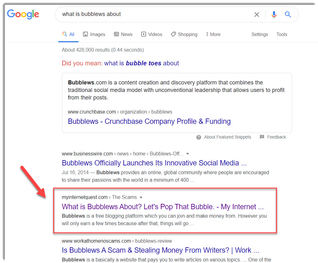 Bubblew review on Google Search