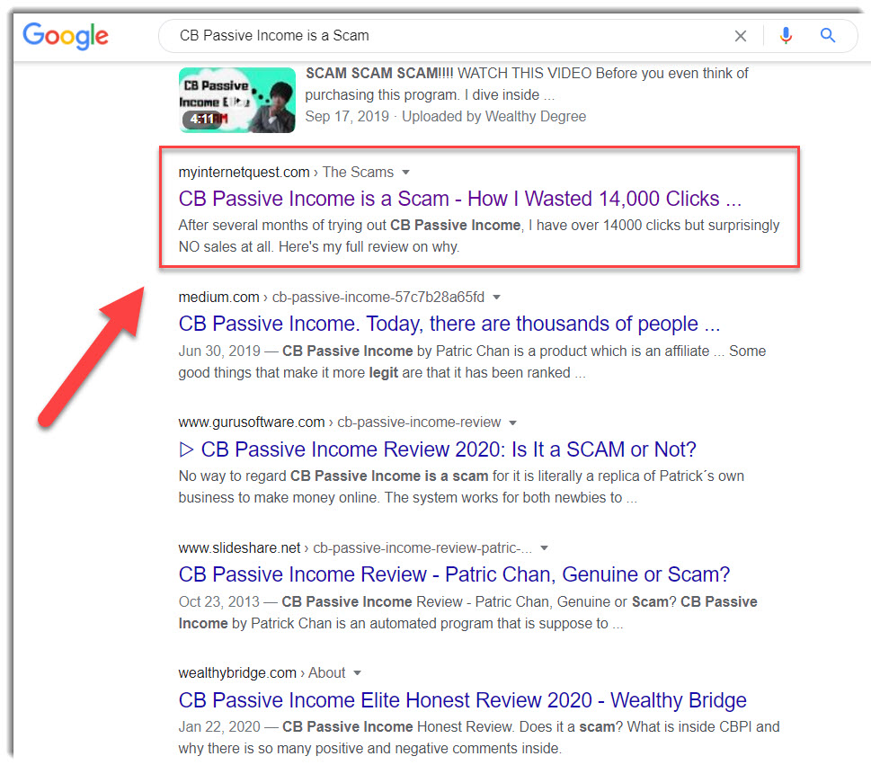CB Passive income 2.0 on Google search