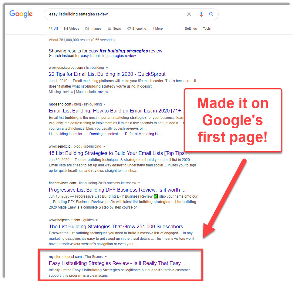Easy Listbuilding Strategies review on Google Search first page