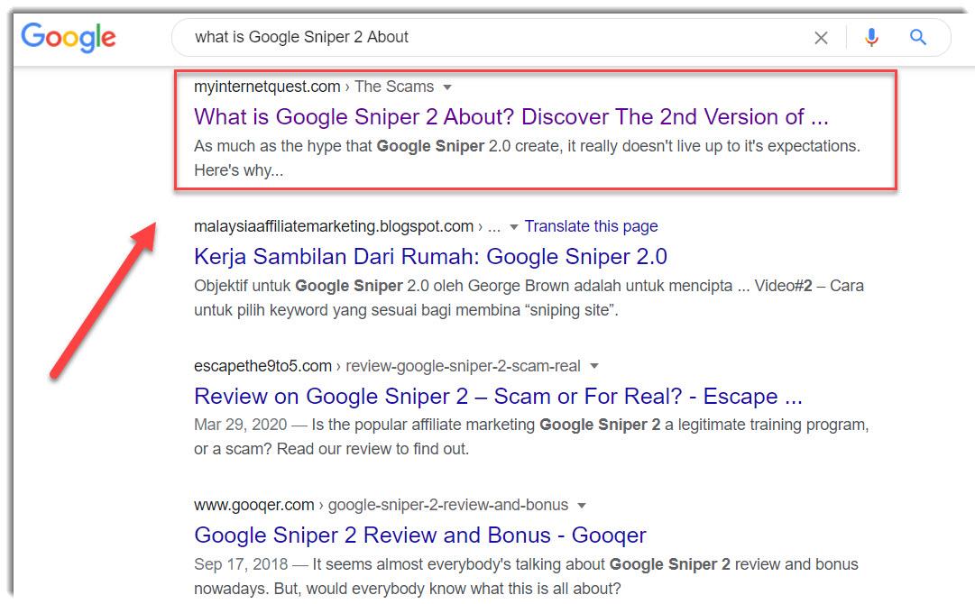 Google Sniper 2 Google search