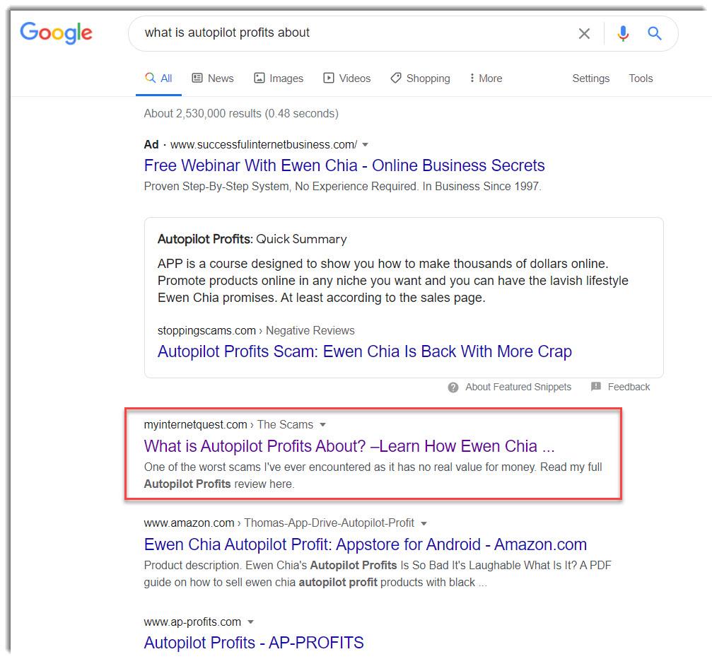 autopilot profits on google search