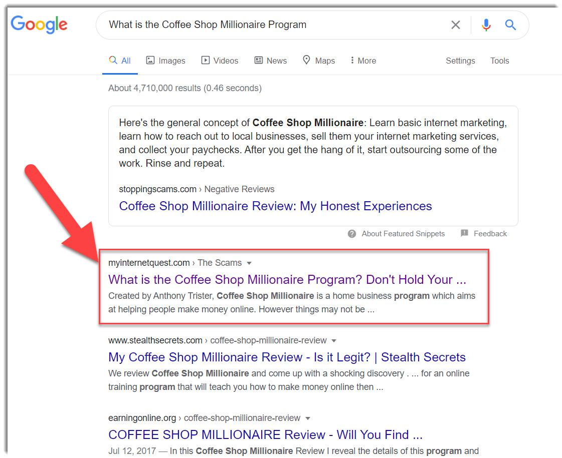 coffee shop millionaire google search