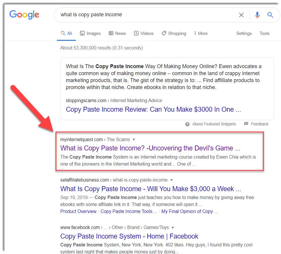 copy paste income on Google Search