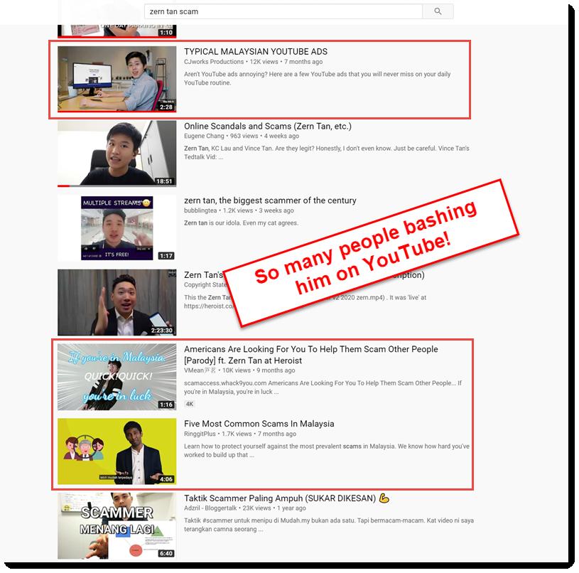 people bashing zern tan on YouTube