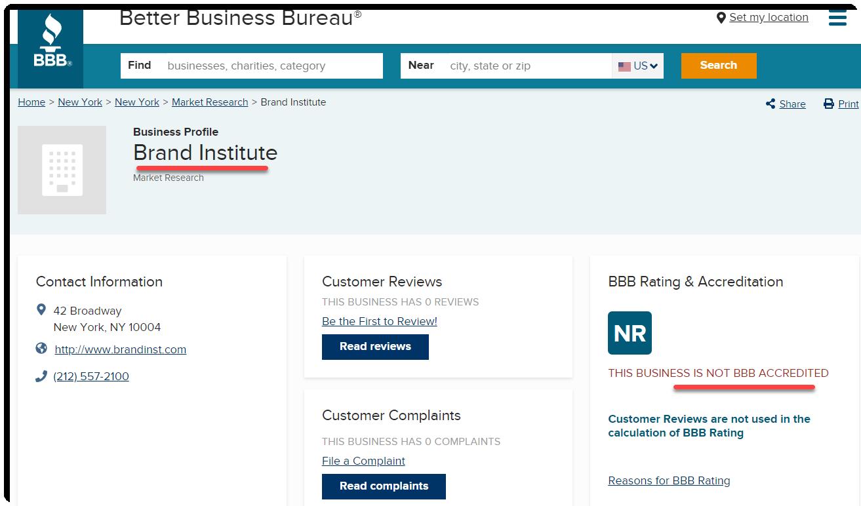 BI not BBB accredited
