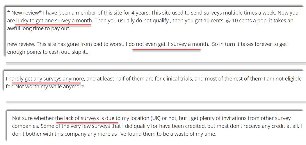 Lack of surveys 1 2 3