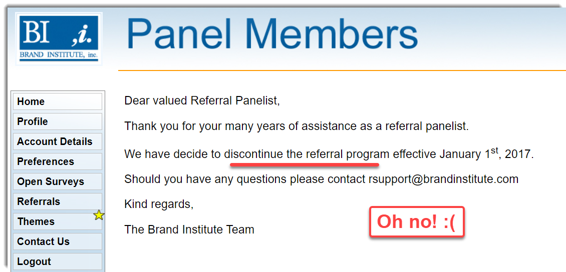 Referral system Brand Institute cancelled