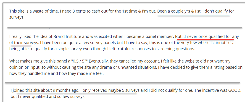 not qualifying for surveys 123 (BI)
