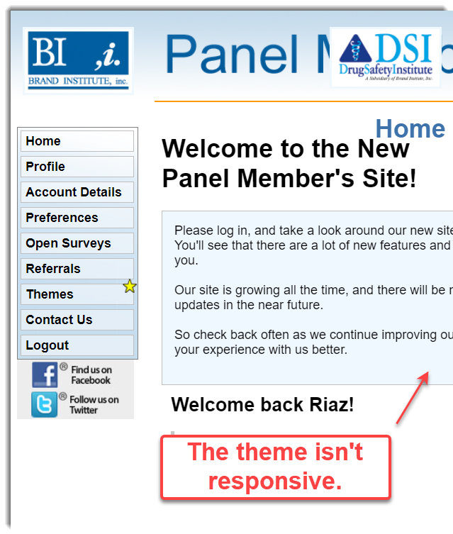 theme is not responsive