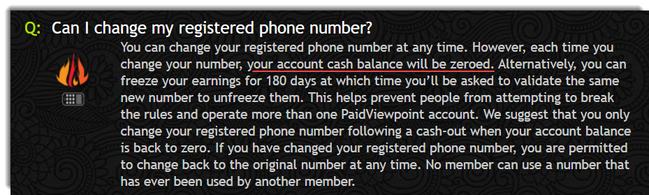 Account will be zeroed when you change your phone number Paidviewpoint