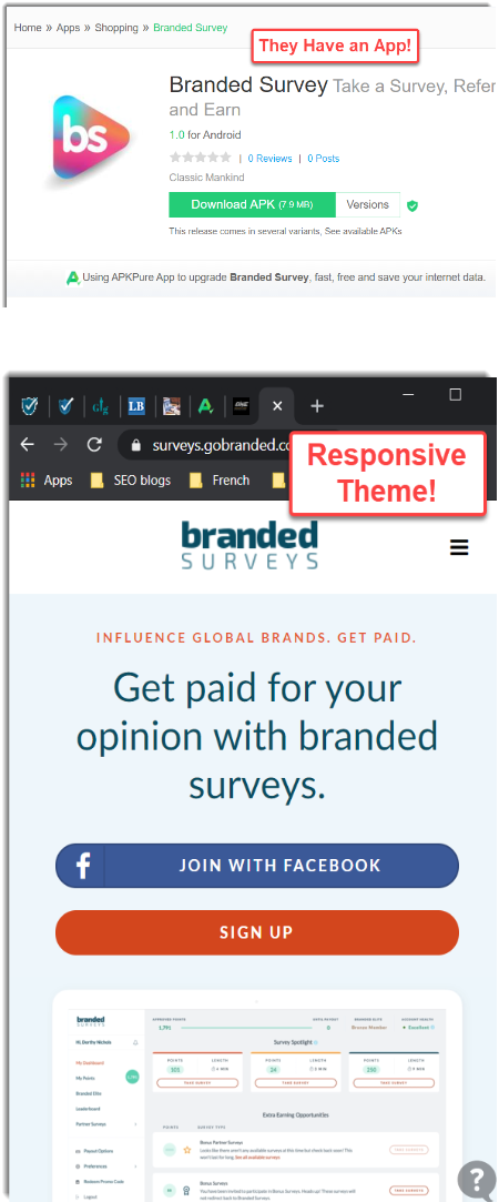 App and responsive theme Branded Surveys
