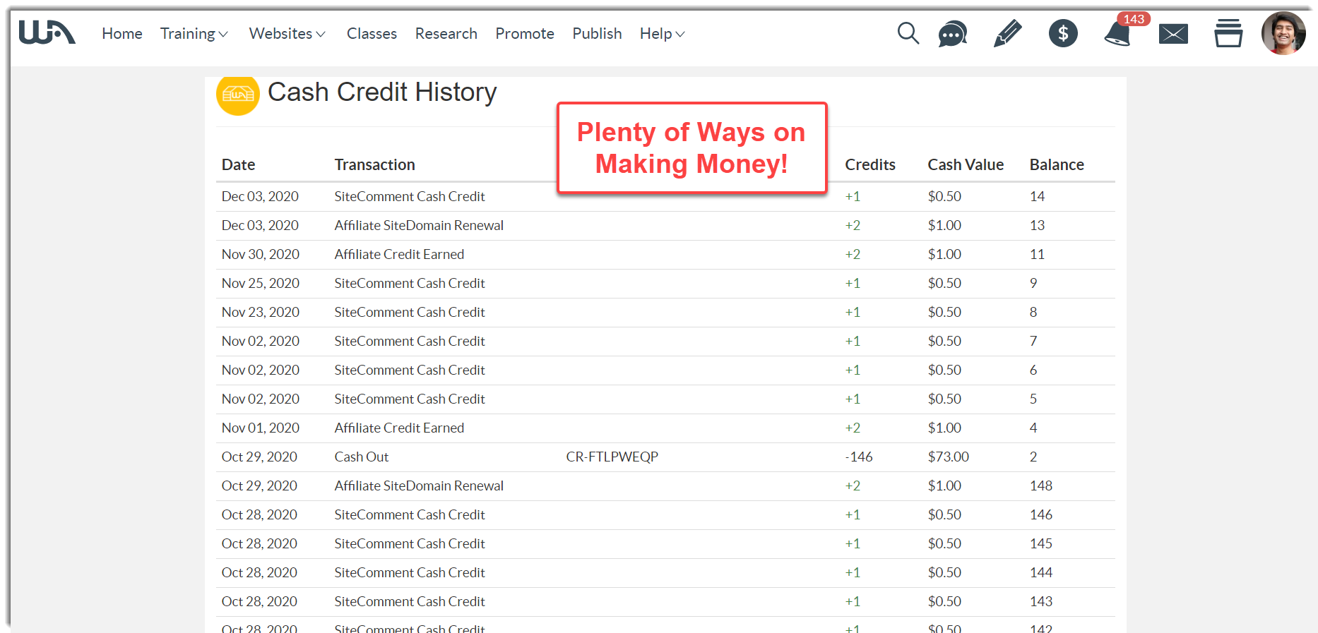 Earning through cash credits on Wealthy Affiliate
