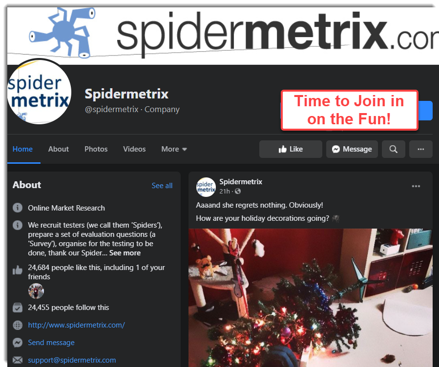 Facebook Page of SpiderMetrix