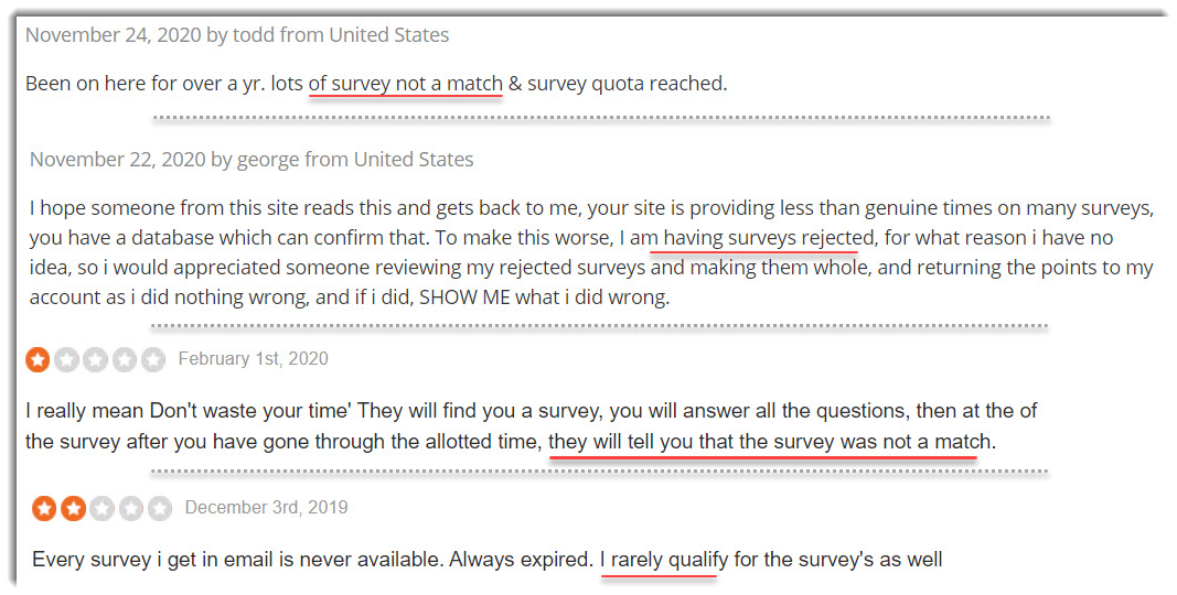 Hard to get a survey match complaints branded survey