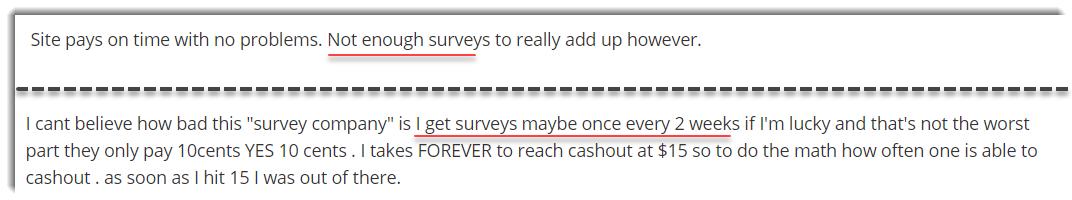 Lack of Surveys Paidviewpoint complaints