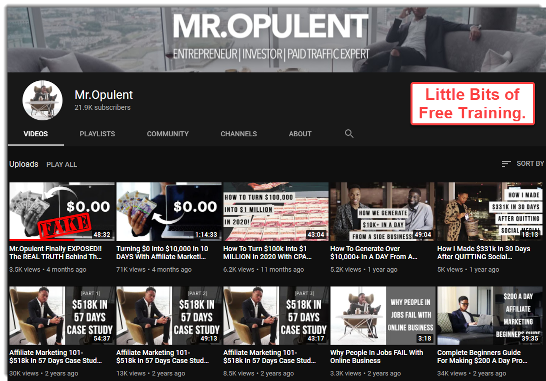 Mr Opulent YouTube page