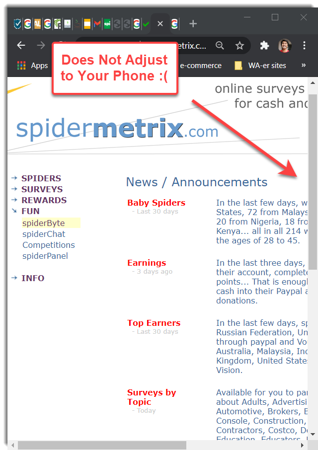 Non Responsive theme SpiderMetrix