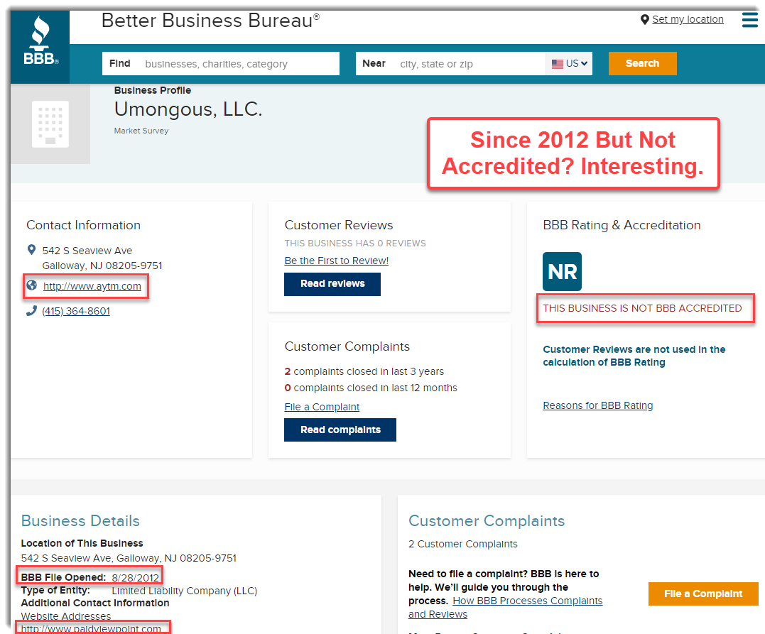 PaidViewPoint on BBB as Umongous LLC