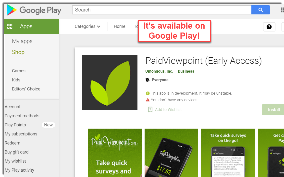 PaidViewPoint on Google Play